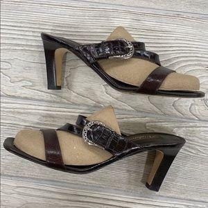 Brighton Brown Leather Rusty Heeled Sandals - sz 9